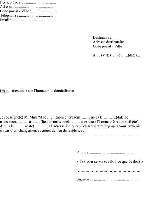 Exemple De Lettre Justificatif De Domicile Modele Justificatif De Domicile Chez Les Parents Document
