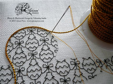 what works for at work four patterns working need to books how to create a blackwork embroidery using cookie cutters