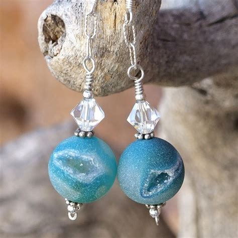 Handmade Jewelry Stores - druzy earrings aqua agate swarovski handmade jewelry
