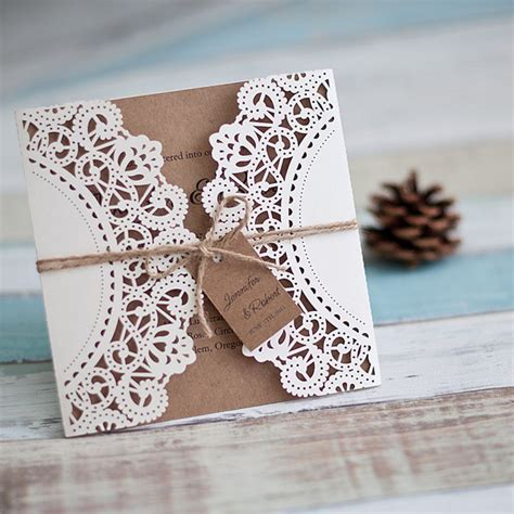 inexpensive rustic laser cut wedding invitation with tag ewws040 as low as 1 99