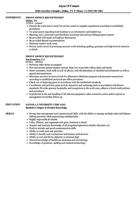front desk resume exle front office receptionist resume sles velvet