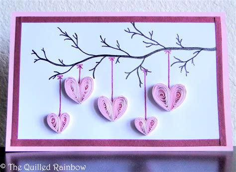 Handmade Mothers Day Card - quilled hanging hearts handmade hearts hanging from a
