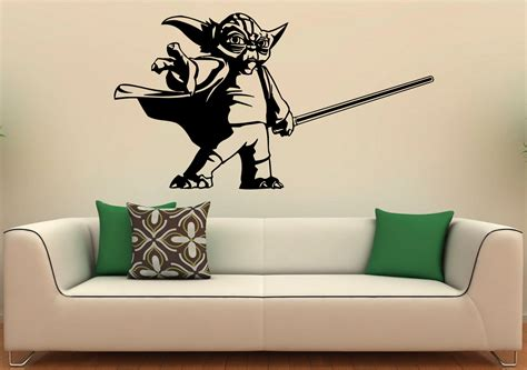 wars wall stickers uk master yoda wall decal vinyl stickers wars home interior