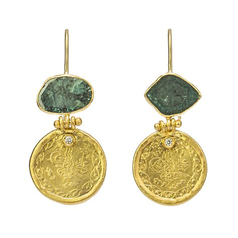 Ottoman Jewellery Gold Ottoman Coin And Teal Earrings Liberman Jewellery