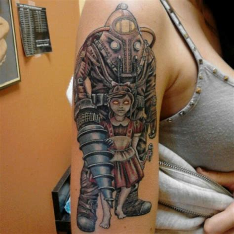 big daddy tattoo gaming tattoos big bioshock rapture 2k