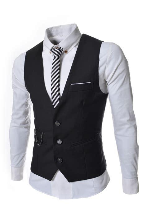 cadena de ropa hombre negro de la cadena de 3 botones de vestir chalecos para