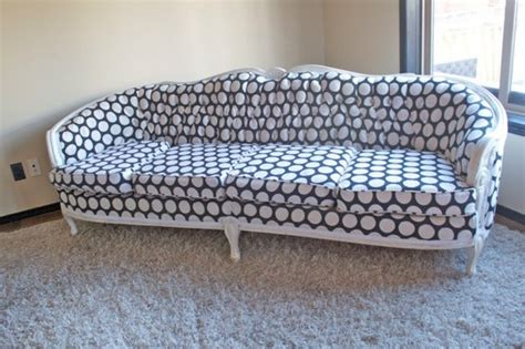 reupholster my couch reupholstered polkadot couch by cocorosecouture on etsy
