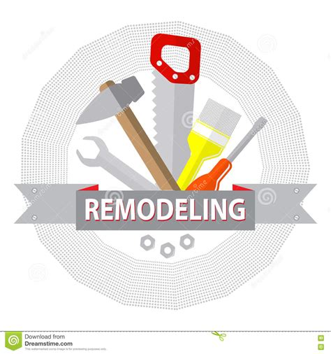 house remodel tools logo home repair service stock