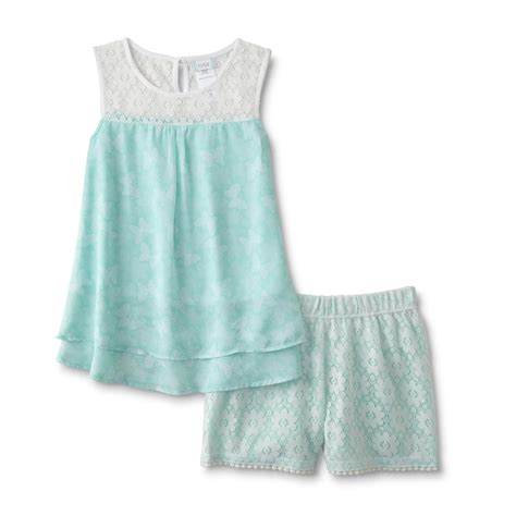 girls swing top piper girl s chiffon swing top lace shorts butterfly