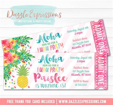 printable lirr tickets printable pineapple luau ticket birthday invitation