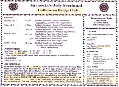 acbl sectional tournaments information on sarasota sectional bridge tournament