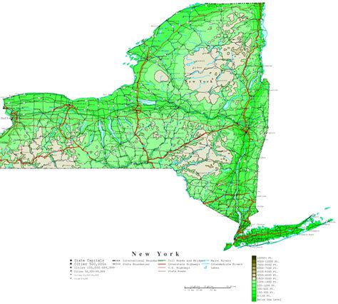 map ny new york contour map