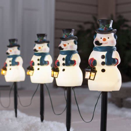 time 4 vintage snowman pathway lighted lawn stakes set walmart