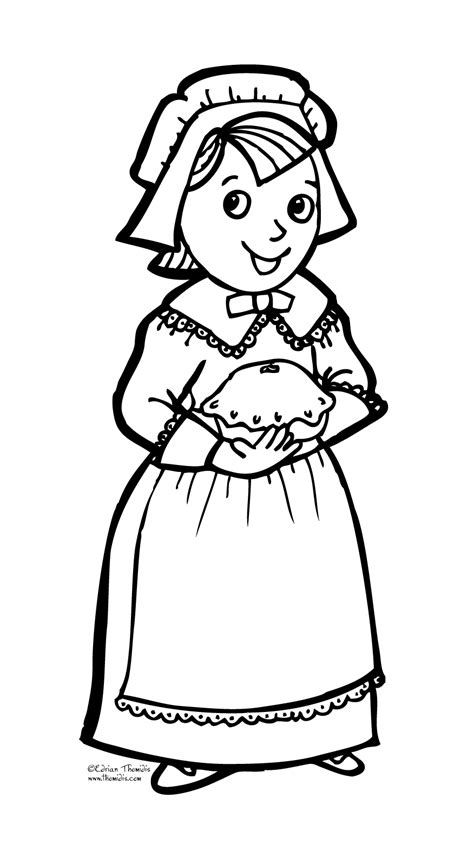 coloring page of a pilgrim girl free a pilgrim girl coloring pages