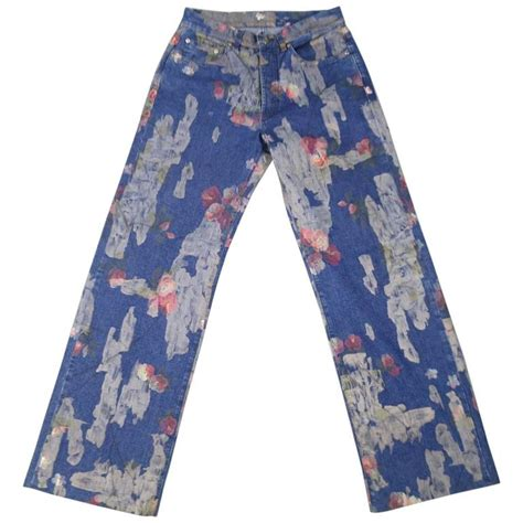 The Limited Abstract Floral Print Wide Leg gucci size 30 floral painted medium wash 2001 at 1stdibs