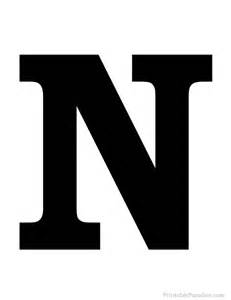 printable letter n silhouette print solid black letter n