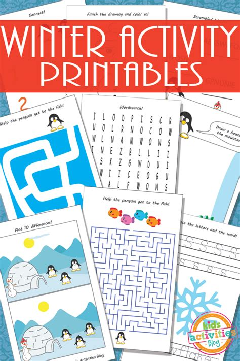Kids Snow Crafts - printable winter activity sheets for kids
