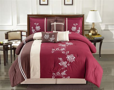 set of 2 coffee cream embroidered decorative bed pillows 11 piece floral vine embroidered burgundy coffee bed in a