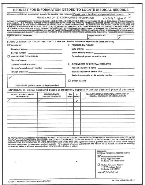Request For Records Na Form 13042 Request For Information Needed To Locate Records