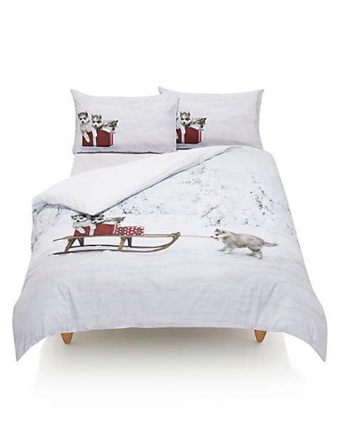 M S Bed Linen Sets Husky Pups Print Bedding Set M S
