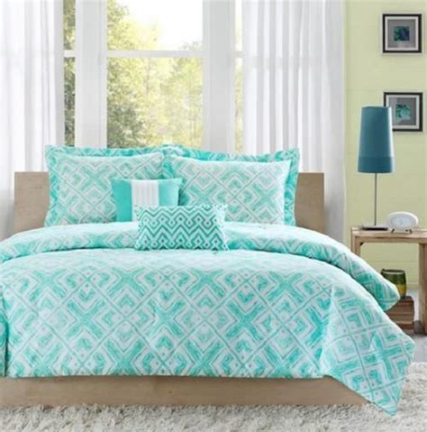 twin twin xl girls teen teal blue white modern geometric