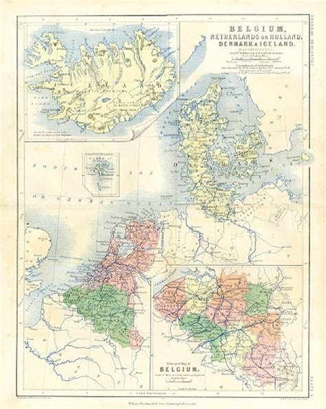 map netherlands and denmark antique color map of belgium denmark iceland 1861