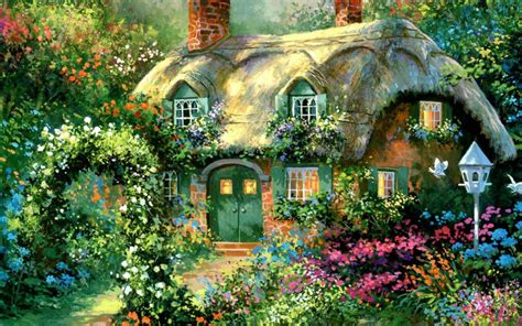 Cottage Garden Paintings by 3led Light Wall Landscape Canvas Print Illuminate Painting Frameless Flickering Light Up