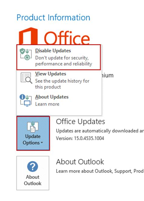 Office 365 Outlook Update Uninstall Updates In Office Click To Run