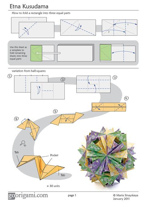 1 Sheet Origami - etna kusudama diagram page 1 go origami