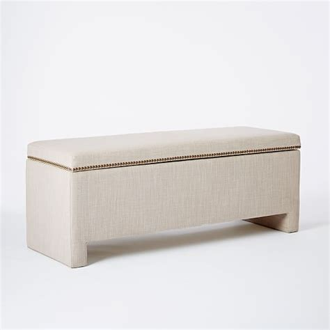 upholstered benches with storage nailhead upholstered storage bench west elm