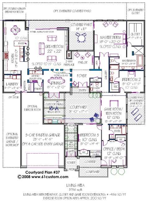 home plans with courtyard courtyard house plan modern courtyard house plans contemporary houseplans the house plan site