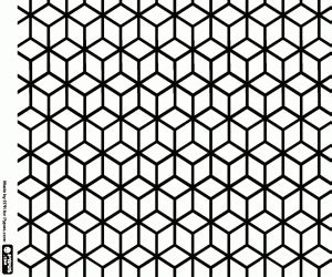 kleurplaat patroon kubussen  isometrische weergave