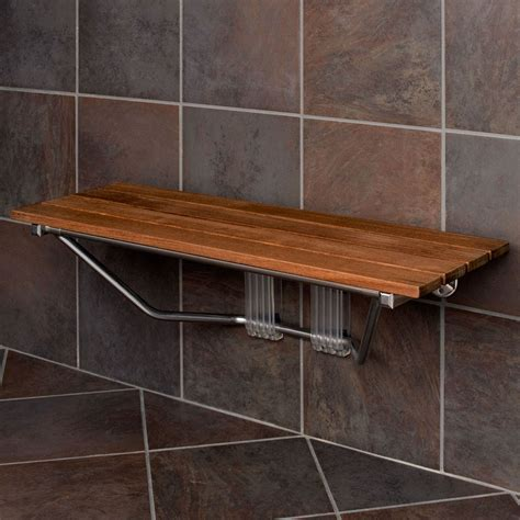 bath bench wood 36 quot double seat folding shower bench modern finished teak