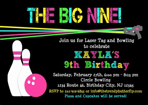 printable birthday invitations laser tag bowling birthday invitation laser tag birthday invitation