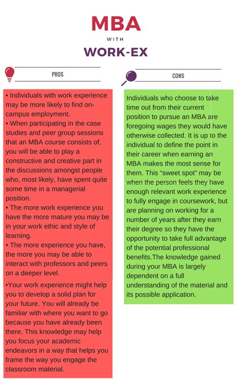 Mba Colleges In Usa With Work Experience by Pros And Cons Of Work Experience Before Mba Examvictor