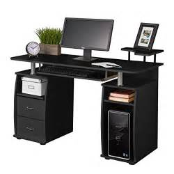 Black Desktop Computer Desk Fineboard Home Office Computer Desk With Raised Side