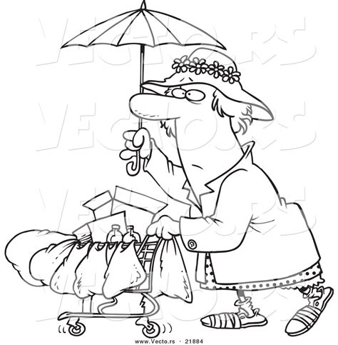 homeless person coloring page vector of a cartoon homeless lady pushing a cart