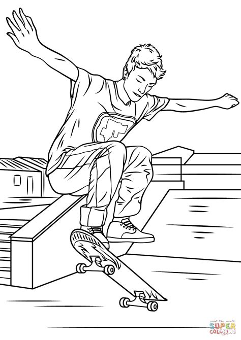 skateboarding trick coloring page free printable