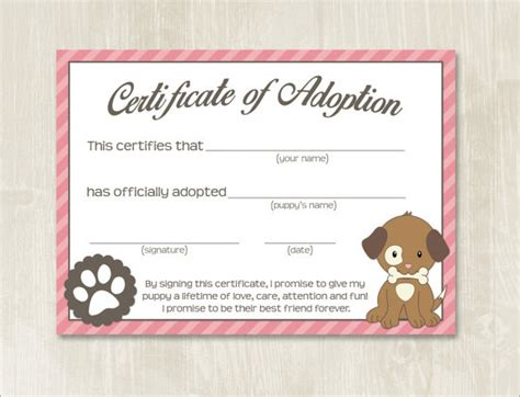 pet adoption certificate template adoption certificate template 7 documents in