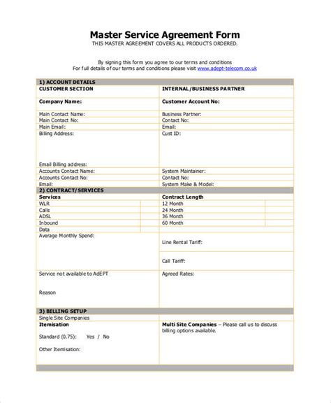 57 Basic Agreement Forms Sle Templates Master Services Agreement Template 2
