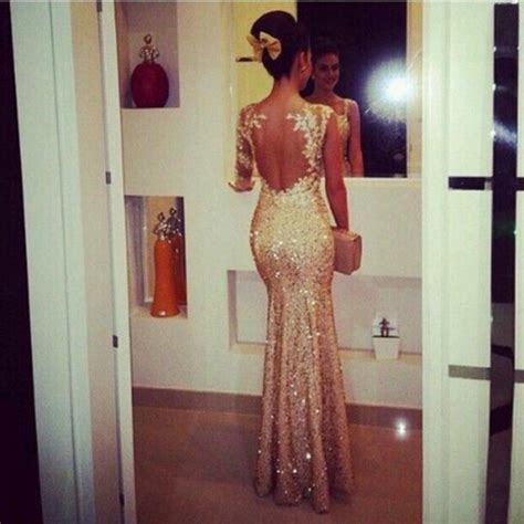 gold sequined open back mermaid prom dresses with one shoulder appliques 2018 evening
