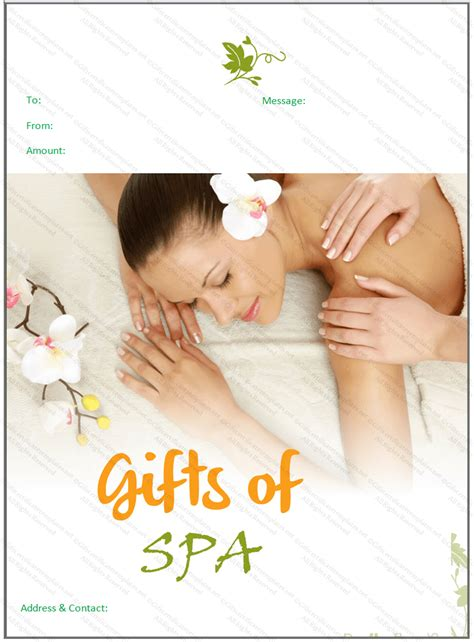 spa gift voucher template beautiful spa gift certificate template