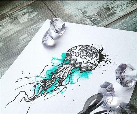 watercolor tattoo design dotwork grey ink dotwork mandala decorated jellyfish on turquoise