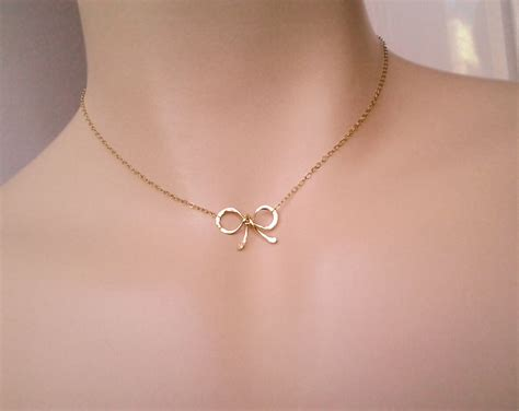 bow choker necklace knot tiny sweet 16 gift bow