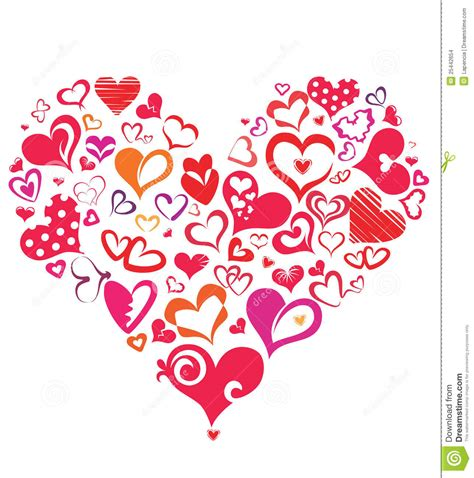imagenes de corazones pequeños big heart made of different hearts symbols stock vector