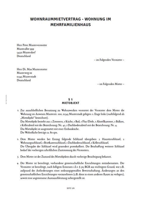 wohnung mietvertrag kostenlos mietvertrag f 252 r eine wohnung erstellen smartlaw