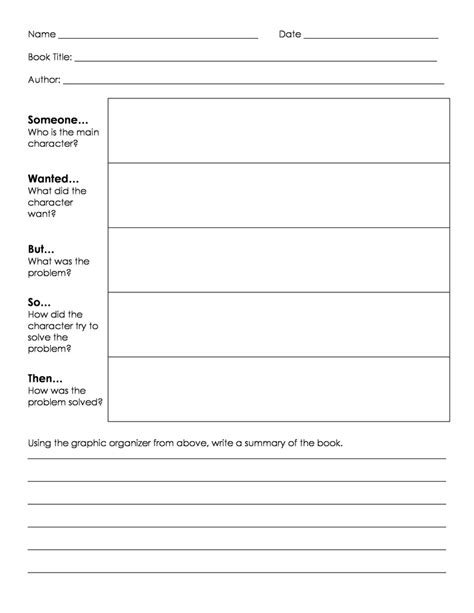 biography summary graphic organizer somebody wanted but so then summarizing graphic