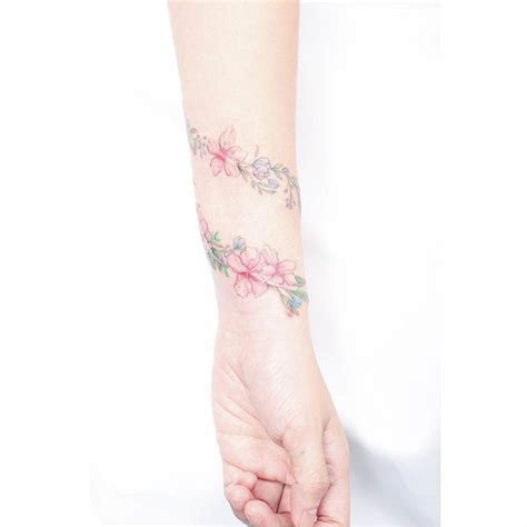 flower bracelet scar cover tattoo