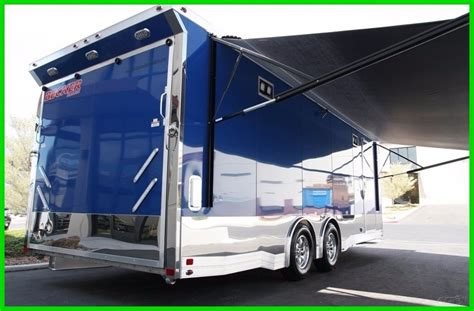 car trailer awnings in stock 2017 aluminum 24 loaded carhauler cargo trailer