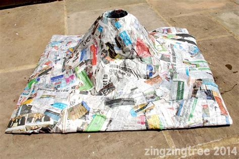 How To Make A Volcano Out Of Paper Mache - papier mache volcano